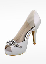 Chic Satin Upper Peep Toe Stiletto Heels Bridal Shoes With Rhinestones