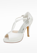 Chic Satin Upper Peep Toe Stiletto Heel Wedding Shoes