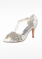 Simple Satin Peep Toe Stiletto Heel Wedding Shoes With Rhinestones