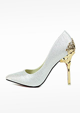 In Stock Chic Suede Upper Pointed Toe Stiletto Heel Wedding Shoes With Pattern