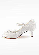 Junoesque Lace Round Toe Stiletto Heel Wedding Shoes