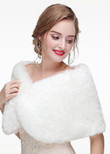 In Stock Glamorous Faux Fur Wedding Shawl