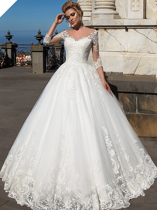 Wonderful Tulle & Organza V-neck Neckline Ball Gown Wedding Dresses With Lace Appliques